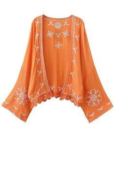 Kimono Sleeve Embroidered Blouse