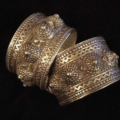 Algeria | These old Berber bracelets have a splendid work of silver granulation and belong to the dowry of the bride. Often, as in Morocco, the goldsmithery of quality was carried out by the Jews,  themselves  influenced by the hellenistic art  in their models…  Weight:2x125,8gr  Width/Inside diameter:1,57inch/2,32inch