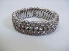 Click-Save $2.00Clear Rhinestone Silver Finished Bracelet regular price $20.00 on http://greenspotantiques.com