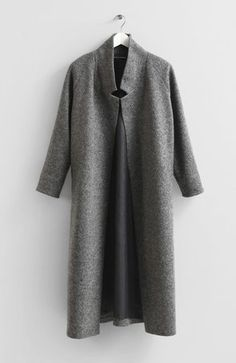 Wool long sleeve sweater coat with two front pockets and two ...