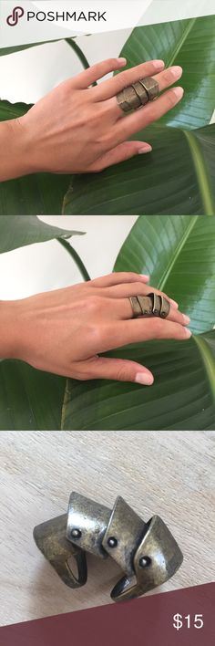 Brass Exoskeleton Ring Antiqued Brass color, segmented ring. Serious statement maker! Jewelry Rings