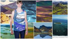 Print / Graphic: Nature's Perspective  Awe-inspiring landscapes tell a colorful story. Tapestries sit with aerial photo real shots of desert islands and more abstract versions of water and natural surface texture. An editors recent trip to Iceland has particularly inspired, not the icy mountains that you'd expect but the rural colorful countryside with deep shadows from the lava fields.