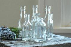 vintage  Miniature Clear Glass Bottles  DIY by DancingMooney