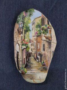 Картина на камне Улица старого города-2 - бежевый,оригинальный подарок