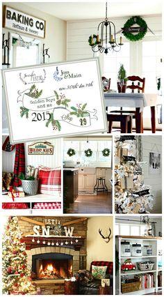 Rustic, Cozy, Farmhouse, Ski Lodge inspired Christmas home tour- part of Jennifer Rizzo's Holiday House Walk 2015 - www.goldenboysandme.com
