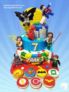 Geeky Lego Justice League Cake and JLA Symbols Cupcakes Harry Birthday, Superman Birthday, Superhero Birthday Cake, Lego Birthday Party, Superhero Party, Lego Superhero Cake, Birthday Cakes, Lego Justice League, Lego Batman Cakes