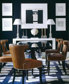 Love this sleek and elegant dining room. Fresh Color Combo: Navy + Caramel
