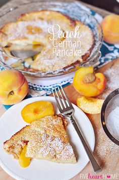 Peach German Pancake (Dutch Baby) ~ golden, puffy, and piping hot skillet pancake studded with peaches | FiveHeartHome.com for TheRecipeCritic.com