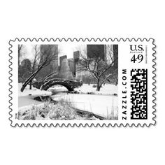 Central Park in Winter, New York City Stamps. Postage for all seasons. #nyc #newyorkcity #centralpark #winter #snow #stamp