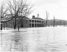 Wolfe Street Apartment Complex, flooded. It was demolished in 2012 to make way for a new dorm complex. :: Ohio University Archives