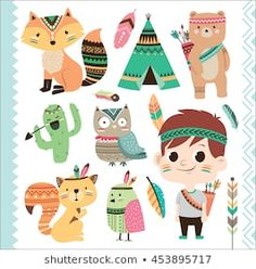 Find Set Cute Tribal Animals Little Boy stock images in HD and millions of other royalty-free stock photos, illustrations and vectors in the Shutterstock collection. Indian Animals, Tribal Animals, Cartoon Styles, Cute Cartoon, Cartoon Bear, Alphabet Poster, Woodland Illustration, Tribal Theme, Tribal Baby Shower