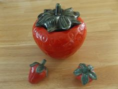 Vintage House of Webster / Strawberry Cookie Jar and Salt and Pepper Shakers by jandhcollectibles on Etsy