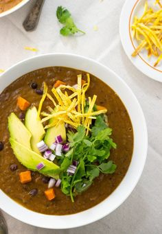 Smokey Sweet Potato and Black Bean Soup. Add chopped flank steak next time, and diced red onion as topper. Avocado didn't add anything to flavor so skip next time. Puréed most of it. Left some chunks right in pan.  3 cups chicken broth next time. 2 was too thick. We all liked flavor. Freshly grated cheddar on top too