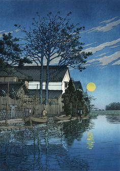 """Evening at Itako"", 1930 Ukiyo-e 浮世絵 from Hasui Kawase 川瀬巴水. Japanese Graphic Design, Japanese Prints, Art Asiatique, Art Japonais, Japanese Painting, Japan Art, Woodblock Print, Chinese Art, Kyoto"