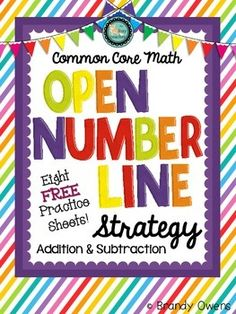 Introduce and practice the Common Core math strategy of using an open number line to add and subtract with this set of practice sheets! Set includes eight free sheets to use in your first (or second!) grade math class as you implement the Common Core standards.  The Common Core standards call for deeper understanding of addition and subtraction than the standard algorithm can provide.