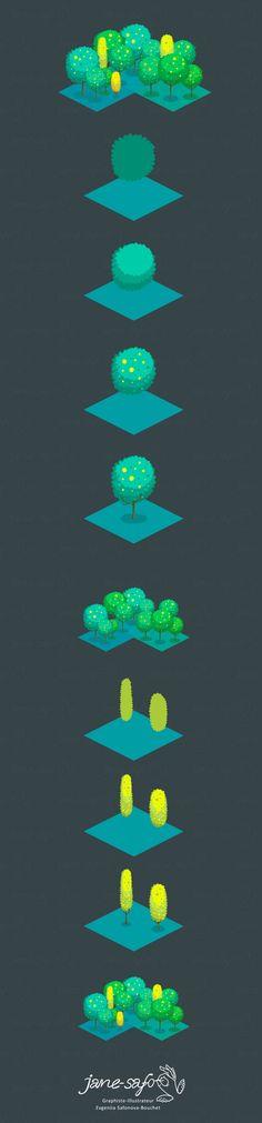 туториал по шагам мультяшный векторный лес в изометрии