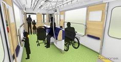 パートナーゾーンは中央部に簡易的な座席や車椅子固定設備を設けるという特異な配置になる。