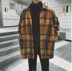 Buy Autumn Plaid Shirt Men New Overshirt Fashion Casual Loose Wool Jacket Coat Man Retro Long-sleeved Shirt Male Clothes Streetwear Tumblr Outfits, Indie Outfits, Casual Outfits, Casual Wear, Men Casual, Outfits For Boys, Tumblr Clothes, Unisex Outfits, Cute Boy Outfits