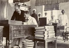 Rare 100-Year-Old Photos of India from the British Raj Era -Interior view of office in Madras, India.