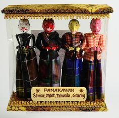 "NIP Set 4 Panakawan Shadow Puppets Comic Relief For the Hero 8"" Tall"