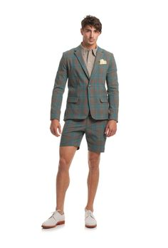 Turk has you well suited for summer in the Thurston Blazer. In luxe, lightweight Italian stretch cotton, this brown and blue tartan plaid looks smashingly smart fo Short Suit, Short Men, Mr Turk, Mens Clothing Styles, Men's Clothing, Blazer And Shorts, Designer Clothes For Men, Trina Turk, Swimwear Fashion