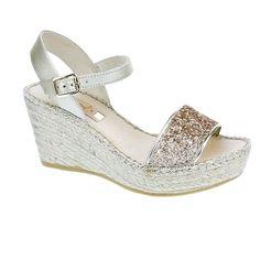 Goldie leather glitter platform wedge espadrille sandal by VIDORRETA