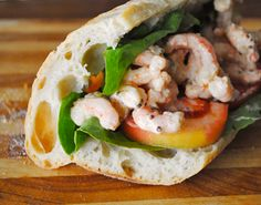 What you'll need: — demi baguette — lettuce — tomato —1 lb. of shrimp {I purchased pre-cooked tiny bay shrimp but you could use larger ones or use fresh shrimp} —shallot —salt —pepper —mayonnaise —stone ground mustard {the kind with seeds} —sweet relish —cayenne pepper —optional: gratedparmigiano reggiano