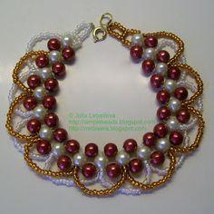 Bracelet de perles dans les tons grenat