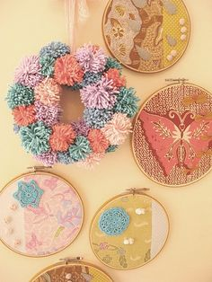 yarn pom pom wreath.