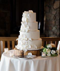 rustic wedding cake idea; photo: Rachel Havel Photography