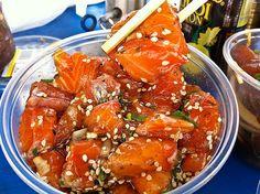 Furikake Salmon Poke Author: Elmer Gonzalez, owner Poke Stop in Mililani, Hawaii. via Sandra Angelozzi Salmon Recipes, Fish Recipes, Seafood Recipes, Asian Recipes, Healthy Recipes, Hawaiian Recipes, Recipies, Ceviche, Salmon Poke