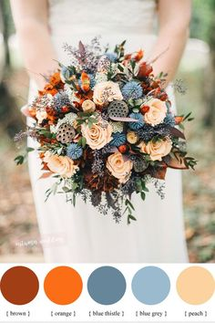 Blue Thistle peach and burnt orange fall wedding bouquet | fabmood.com #weddingbouquet #bouquets #fallboquet