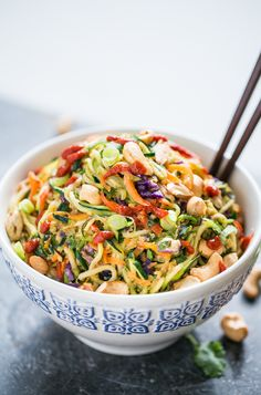 These Rainbow Veggie Dragon Noodles are a healthier take on some ultimate comfort food takeout. They're packed with veggies and vegetarian! Veggie Recipes, Vegetarian Recipes, Cooking Recipes, Healthy Recipes, Weeknight Recipes, Zoodle Recipes, Diet Recipes, Clean Eating, Healthy Eating