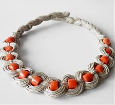 Items similar to Hand made, Linen, Coral Necklace on Etsy Coral, Bracelets, Silver, Handmade, Etsy, Jewelry, Bangle Bracelets, Hand Made, Jewellery Making