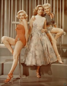 Marilyn Monroe, Lauren Bacall & Betty Grable On the set of How To Marry a Millionaire circa 1953.