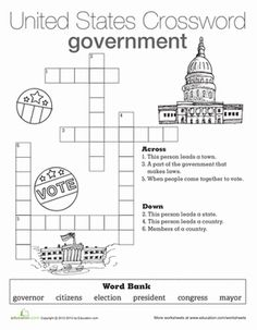 This government crossword will help your young citizen understand the roles and responsibilities of local and state governments. Try our government crossword.