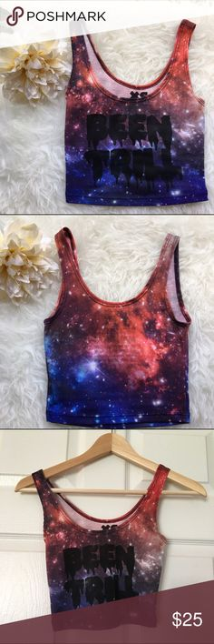 Been trill galaxy crop tank 💥Discounted Bundles💥 ▪️Please use the offer feature 👍🏽 ▪️Ships within 24 hours ✈️ ▪️🚫No trades🚫No Paypal 🚫Holds ▪️ Love the item but not the price?  Make an offer! 😊 ▪️Questions?  Don't be shy!  Feel free to ask 💁🏽 ▪️Condition - very good ▪️Description - Galaxy print been trill cropped tank top. In excellent condition. Only worn once. PacSun Tops Crop Tops