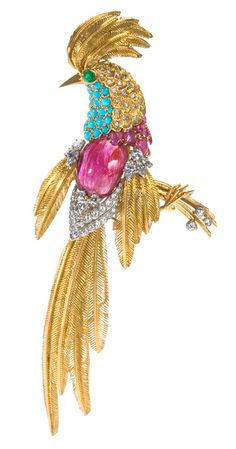 A French Mid-Century 18 karat gold and platinum bird brooch with diamonds, rubies, turquoise and emerald by Jean Charles.