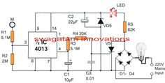 Simple 220V touch night lamp circuit can be learned in this article and implemented as a bed lamp for monetarily toggling by touching the pad during night time for a delay time of about 1 minute.