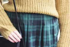 Mustard knit and vintage tartan midi skirt.