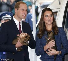 William and Kate listened intently as police dog handlers talked about the tiny recruits