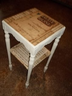 Antique table Modge Podged with 1920's music sheets.... EASY!!!