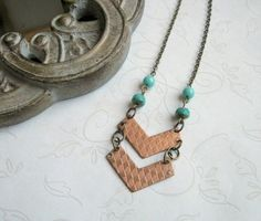 Long chevron necklace vintage brass copper plated by botanicalbird