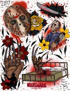 Horror Movie Tattoos, Scary Tattoos, 13 Tattoos, Body Art Tattoos, Sleeve Tattoos, Dark Art Drawings, Tattoo Drawings, Freddy Krueger, Tattoo Mafia
