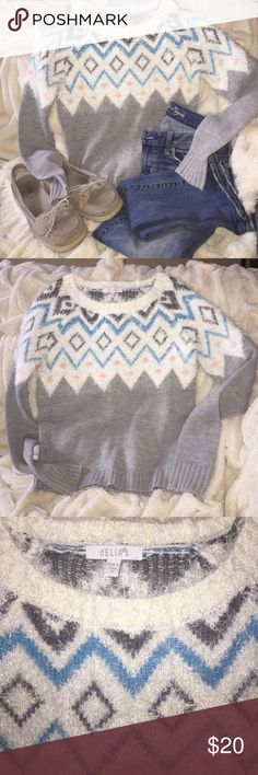 Delias S Nordic style Gray shag top sweater I LOVE this sweater by Delias!  I remember getting this catalog as a teen and wishing for everything in it!  Get this $60 for 1/3 the price!  Like new and sooooo SOFT!!!! dELIAs Sweaters Crew & Scoop Necks