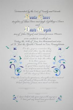 Flourished marriage certificate hand written and hand painted