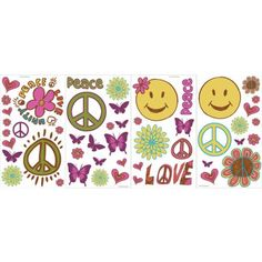 Blue Mountain Wallcoverings Peace and Love Room Appliques, Multicolor