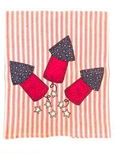 4th of July Fireworks Applique Tea Towel, Summer Applique, Patriotic Applique, 4th of July Kitchen Towel, Patriotic Applique Tea Towel by RkyMtnCrafts on Etsy