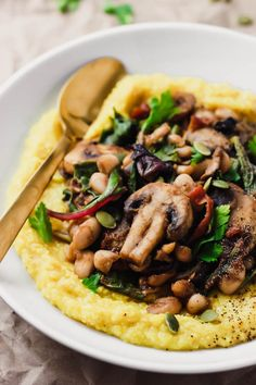 Creamy Vegan Polenta with Mushrooms and Beans
