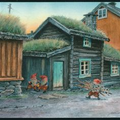 """Sommermotiv Keeping watch, two Gnomes urge their friend to hurry with the load of fire wood he """"found"""" beside the farmer's house. Gnome Pictures, Pictures To Draw, Magical Creatures, Fantasy Creatures, Christmas Illustration, Illustration Art, Baumgarten, Postcard Art, Vintage Postcards"""